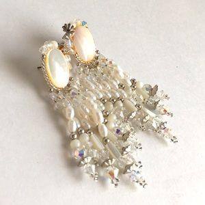 Vintage 90's Earrings Beaded Statement Jewelry